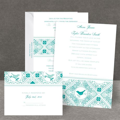 Lacy Love Birds All In One Invitation
