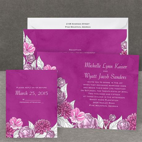 Lots of Blossoms - Amethyst - All in One Invitation