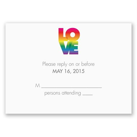 Rainbow Love Response Card and Envelope
