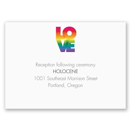 Rainbow Love Reception Card