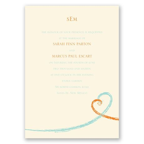 Swirl Hearts - Ecru - Invitation