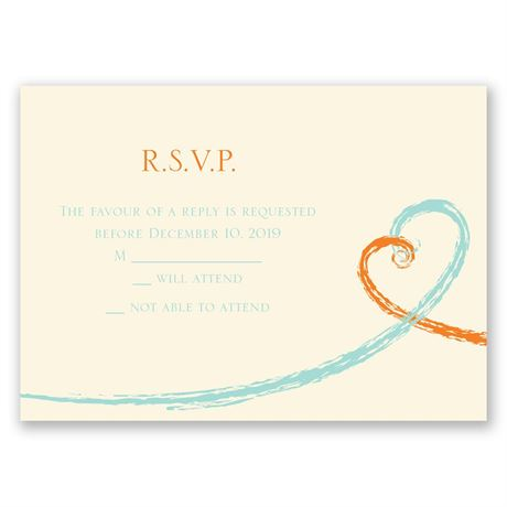 Swirl Hearts - Ecru - Response Card and Envelope