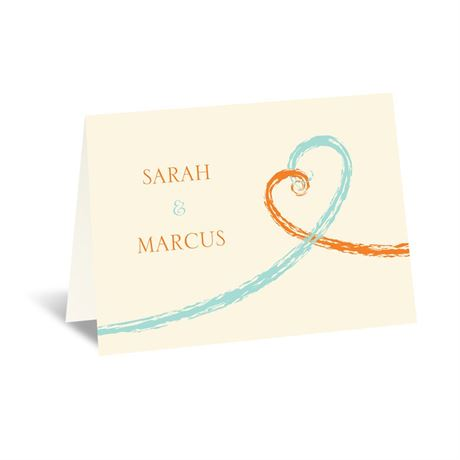 Swirl Hearts - Ecru - Note Card and Envelope