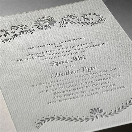 Sunflower Delight - Ecru - Featherpress Invitation