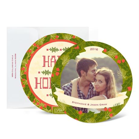 Holiday Wreath - Moss Green - Photo Holiday Card