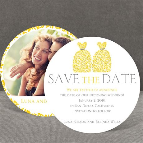 Patterned Dresses - Save the Date Card