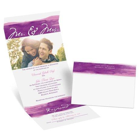 Watercolor Mr. and Mrs. - Grapevine - Seal and Send Invitation