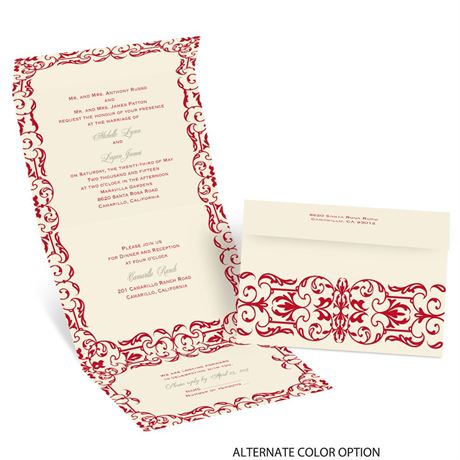 Damask Accents - Ecru - Seal and Send Invitation
