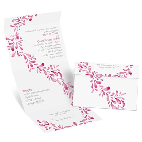 Watercolor Petals - Cherry - Seal and Send Invitation