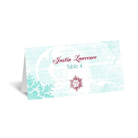 Snowflakes and Swirls - Aqua - Escort Card