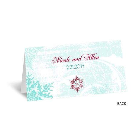 Snowflakes and Swirls - Aqua - Place Card