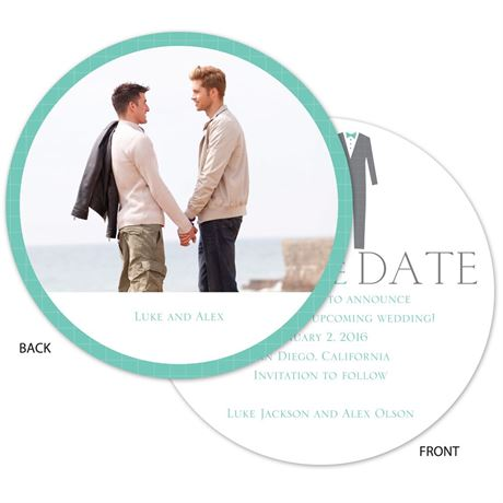 Patterned Tuxes - Save the Date Card