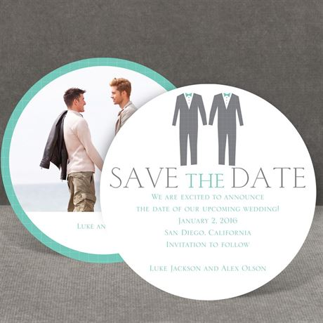 Patterned Tuxes Save the Date Card