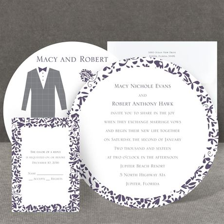 Patterned Tux and Dress Invitation