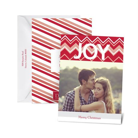 Chevron Joy Petite Photo Holiday Card