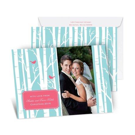 Wintry Lovebirds Photo Holiday Card