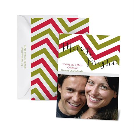 Cheery Chevron Photo Holiday Card