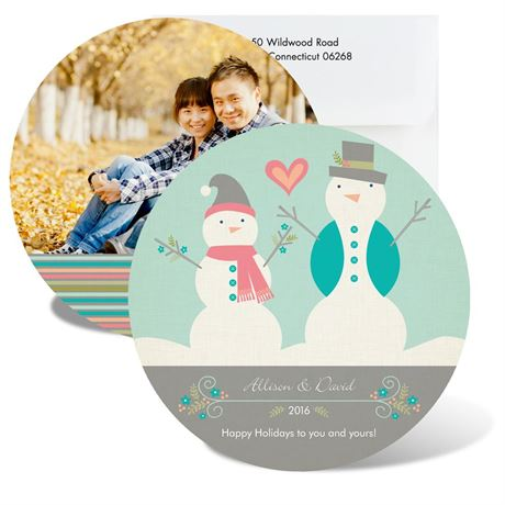 Happy Snowmen Photo Holiday Card