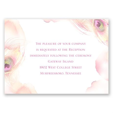 Peacock Whimsy - Cotton Candy - Reception Card