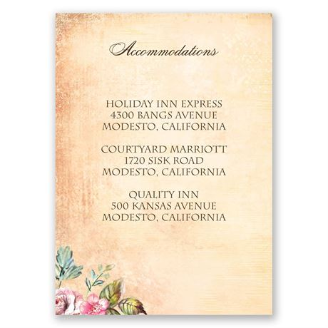 Vintage Birds Accommodations Card