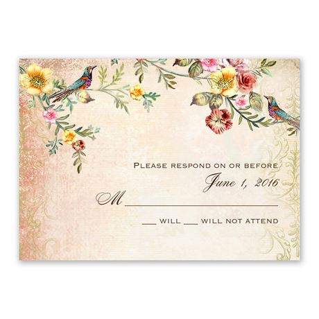 Vintage Birds Response Card and Envelope