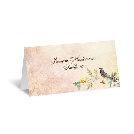 Vintage Birds Escort Card