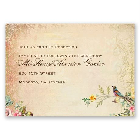 Vintage Birds Reception Card