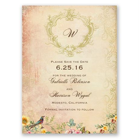 Vintage Birds Save the Date Card