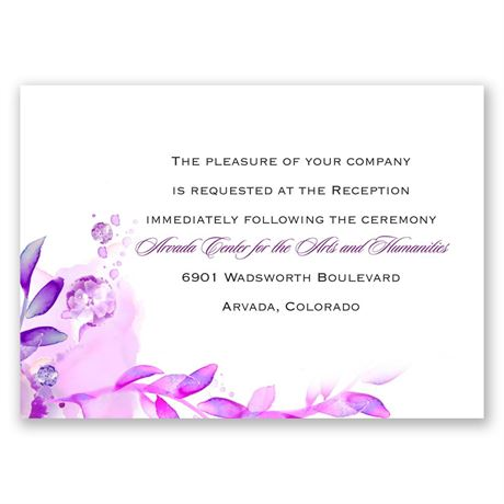 Watercolor Dream - Grapevine - Reception Card