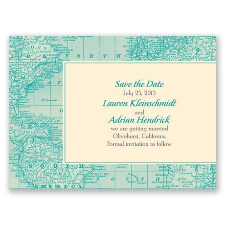 Classic Map Save the Date Card