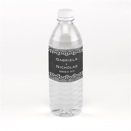 Chalkboard Sketch Water Bottle Label