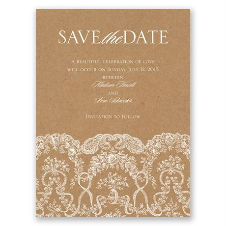 Lace on Kraft Save the Date Card