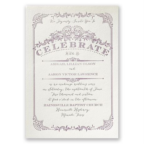 Vintage Celebration Ecru Featherpress Invitation