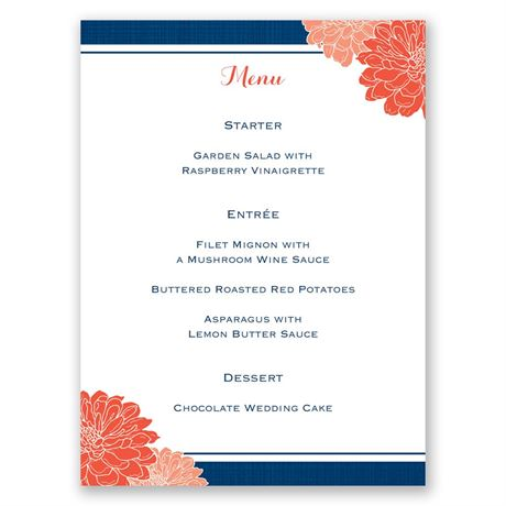 Peeking Flowers Menu Card
