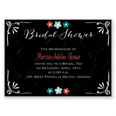 Chalkboard Flowers Mini Bridal Shower Invitation