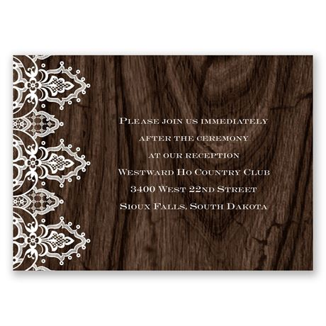 Romantic Finish Reception Card