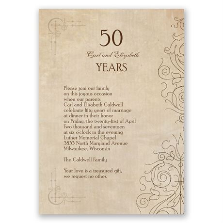 Antique Filigree Anniversary Invitation