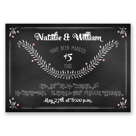 Chalkboard Art Anniversary Invitation