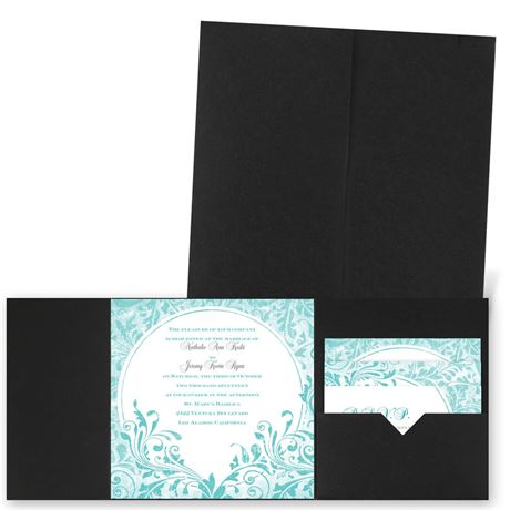 Damask Moon - Black - Pocket Invitation