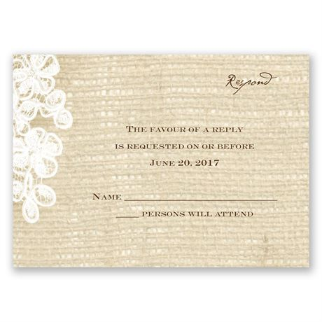 Burlap and Lace - Response Card