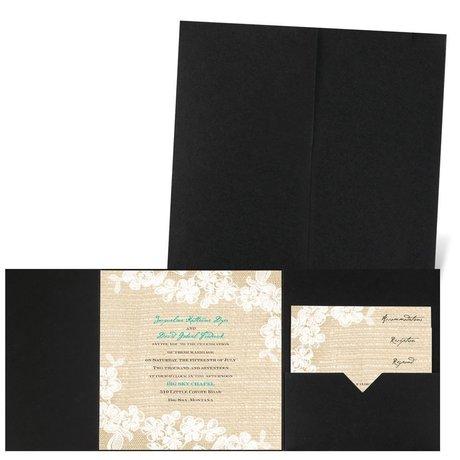 Burlap and Lace - Black - Pocket Invitation