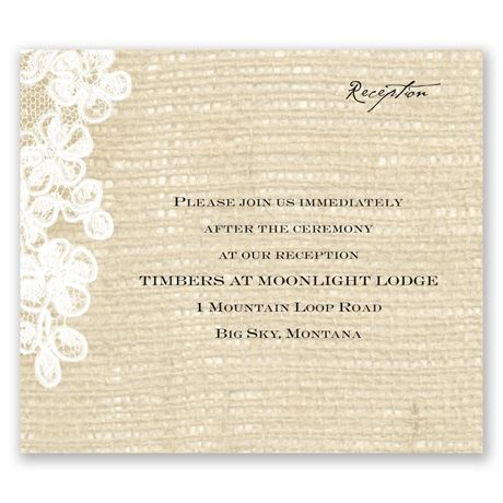Burlap and Lace - Reception Card