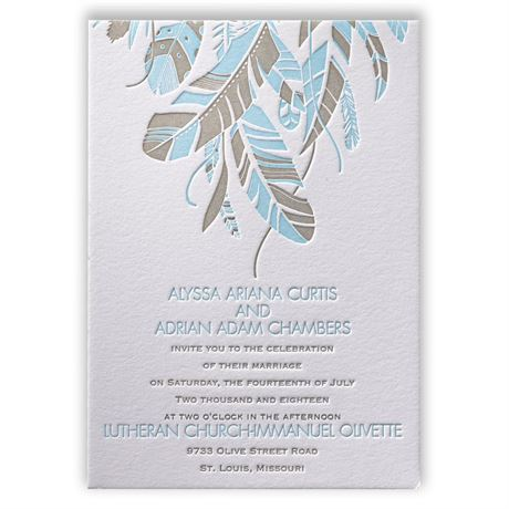 Falling Feathers Letterpress Invitation