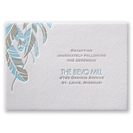 Falling Feathers Letterpress Reception Card
