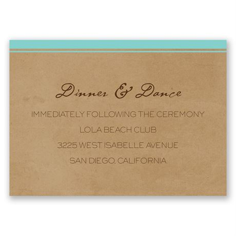 Pine Tree Treasures - Aqua - Reception Card