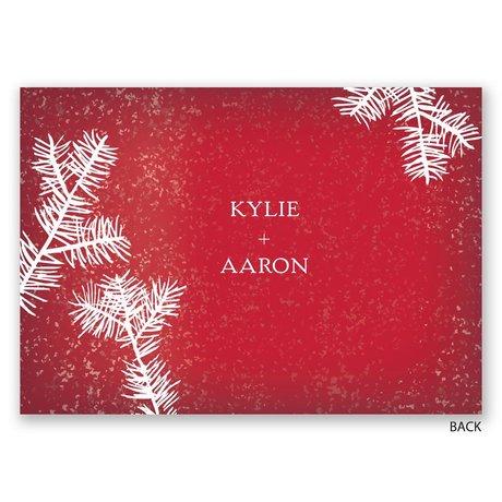 Snowy Pines - Barn Red - Invitation