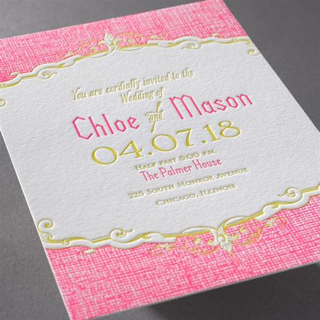 Swirls and Spires - Letterpress Invitation