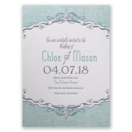 Swirls and Spires Letterpress Invitation