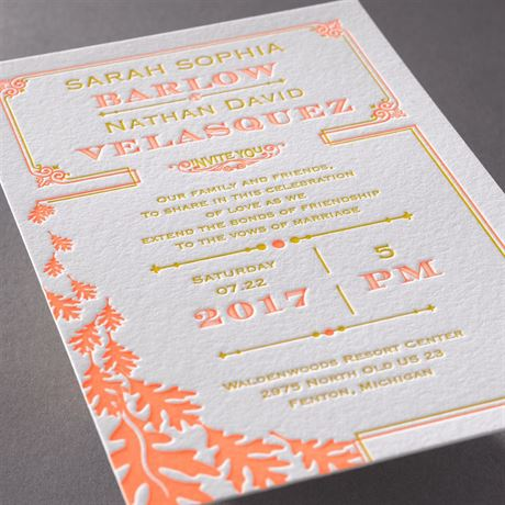 Contemporary Autumn - Letterpress Invitation