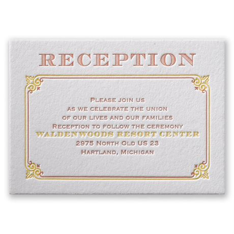 Contemporary Autumn Letterpress Reception Card